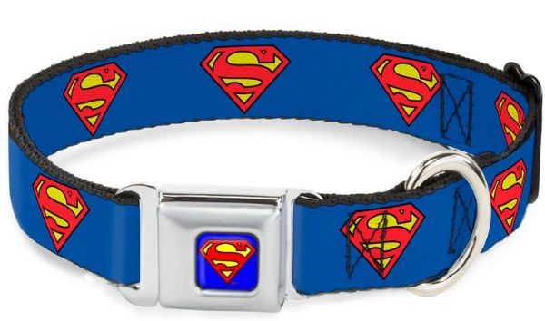 Superman Shield Blue Buckle Collar