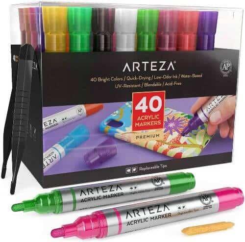 Arteza Acrylic Markers Set Of 40
