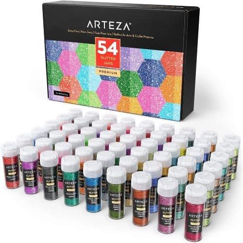 Arteza Neon & Holographic Glitter Shaker Jars