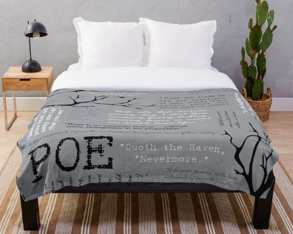 Edgar Allen Poe Word Cloud Throw Blanket