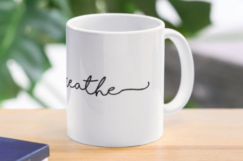 Just Breathe Calligraphy Mug