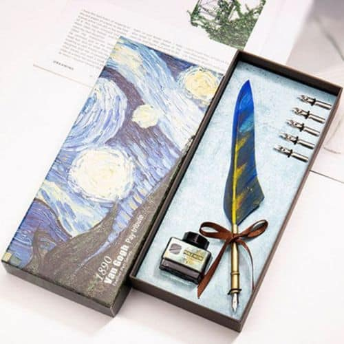 Van Gogh Feather Quill Pen Set